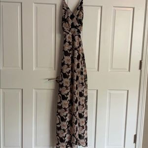 Floral lined maxi dress